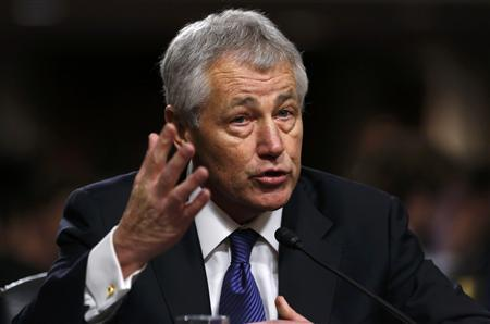 Former U.S. Senator Chuck Hagel (R-NE) testifies during a Senate Armed Services Committee hearing on his nomination to be Defense Secretary, on Capitol Hill in Washington, January 31, 2013. Hagel, 66, is a decorated Vietnam War veteran and a former two-term Republican senator. REUTERS/Kevin Lamarque