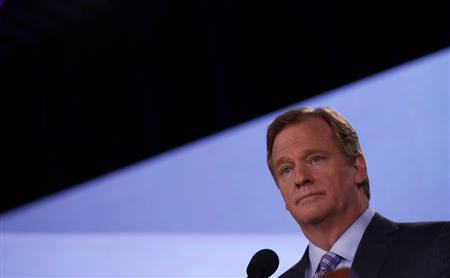 NFL Commissioner Roger Goodell listens to a question during his annual press conference ahead of the NFL's Super Bowl XLVII in New Orleans, Louisiana, February 1, 2013. REUTERS/Jim Young