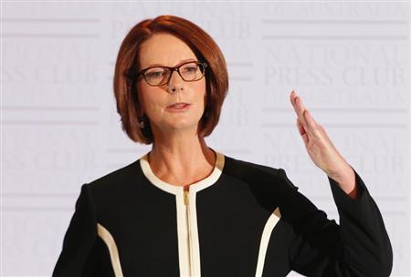 Australian Prime Minister Julia Gillard speaks at the National Press Club in Canberra January 30, 2013. REUTERS/Stringer