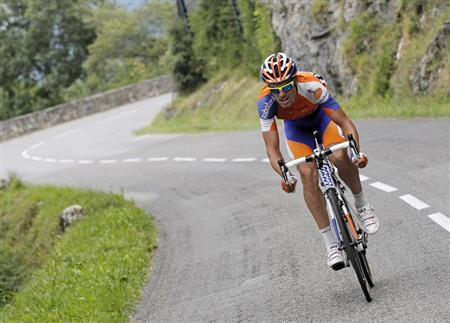 Rabobank Cycling Team rider Luis Leon Sanchez of Spain cycles in a break away during the 14th stage of the 99th Tour de France cycling race between Limoux and Foix, July 15, 2012. REUTERS/Stephane Mahe