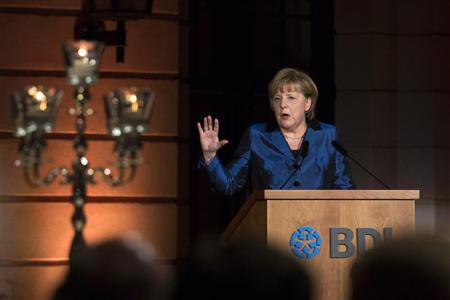 German Chancellor Angela Merkel speaks at a ceremonial act of the BDI German industry association in Berlin January 29, 2013. REUTERS/Thomas Peter