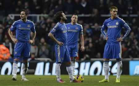 Chelsea's players (from L-R) Frank Lampard, Juan Mata, John Terry and Fernando Torres react after Newcastle's Moussa Sissoko (unseen) scored during their English Premier League soccer match in Newcastle, northern England February 2, 2013. REUTERS/Nigel Roddis
