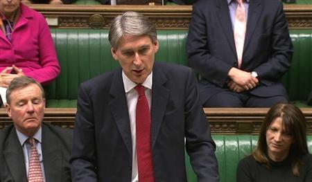Defence Secretary Philip Hammond speaks to parliament about Britain deploying military personnel to Mali and West Africa, in this still image taken from video in London January 29, 2013. REUTERS/UK PARLIAMENT via Reuters TV