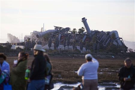 Crowds look at the South Bay Power Plant after its implosion in Chula Vista, California, February 2, 2013. REUTERS/Sam Hodgson