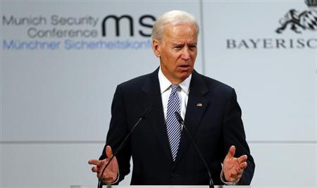 U.S. Vice-President Joe Biden gives a speech at the 49th Conference on Security Policy in Munich February 2, 2013. REUTERS/Michael Dalder
