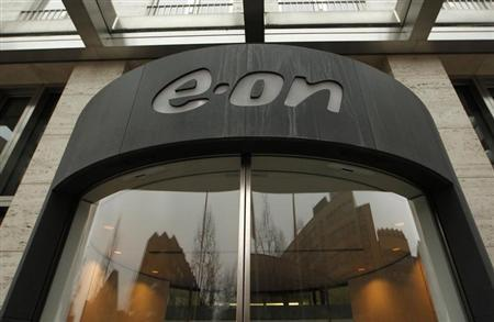 The headquarters of German utility giant E.ON is pictured before the annual news conference in Duesseldorf March 14, 2012. E.ON, Germany's top utility, expects its renewable energy business and foreign expansion to help lift core profit this year and next after Germany's decision to phase out nuclear power led to a net loss for 2011. REUTERS/Ina Fassbender (GERMANY - Tags: BUSINESS LOGO