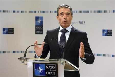 NATO Secretary General Anders Fogh Rasmussen addresses a news conference for his annual report at the Alliance headquarters in Brussels January 31, 2013. REUTERS/Laurent Dubrule