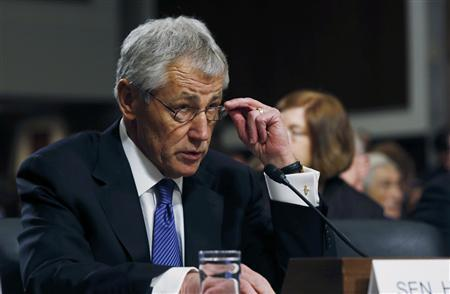 Former Sen. Chuck Hagel (R-NE) testifies before the Senate Armed Services Committee to be