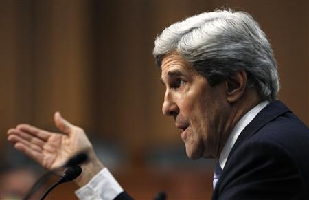 U.S. Senator John Kerry (D-MA) testifies during his Senate Foreign Relations Committee confirmation hearing to be secretary of state, on Capitol Hill in Washington, January 24, 2013. REUTERS/Gary Cameron