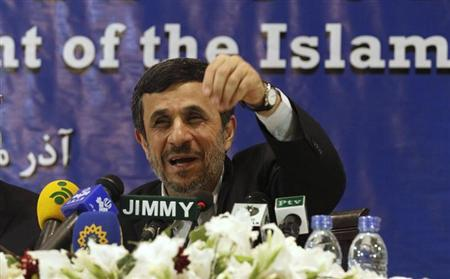 ran's President Mahmoud Ahmadinejad speaks during a media conference at Iran's embassy after he attended the Developing-8 summit in Islamabad November 22, 2012. REUTERS/Mian Khursheed