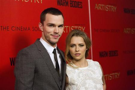 Cast members Nicholas Hoult (L) and Teresa Palmer attend a screening of their film ''Warm Bodies'' in New York January 25, 2013. REUTERS/Andrew Kelly