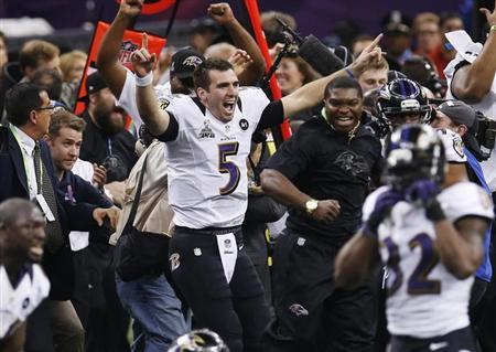Baltimore Ravens quarterback Joe Flacco celebrates as the Ravens defeat the San Francisco 49ers to win the NFL Super Bowl XLVII football game in New Orleans, Louisiana, February 3, 2013. REUTERS/Jim Young
