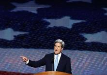 U.S. Senator and former Democratic presidential nominee John Kerry addresses delegates during the final session of the Democratic National Convention in Charlotte, North Carolina September 6, 2012. REUTERS/Jason Reed