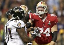 San Francisco 49ers tackle Joe Staley (74) battles Baltimore Ravens defensive end Arthur Jones (97) after the play during the first quarter in the NFL Super Bowl XLVII football game in New Orleans, Louisiana, February 3, 2013. REUTERS/Sean Gardner