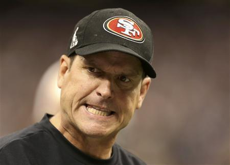 San Francisco 49ers head coach Jim Harbaugh reacts on the sidelines during the fourth quarter in the NFL Super Bowl XLVII football game against the Baltimore Ravens in New Orleans, Louisiana, February 3, 2013. REUTERS/Sean Gardner