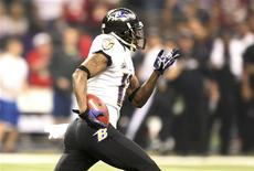 Baltimore Ravens' Jacoby Jones heads up field en route to scoring a touchdown on a kickoff return at the start of the third quarter against the San Francisco 49ers in the NFL Super Bowl XLVII football game in New Orleans, Louisiana, February 3, 2013. REUTERS/Sean Gardner