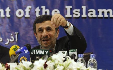 Iran's President Mahmoud Ahmadinejad speaks during a media conference at Iran's embassy after he attended the Developing-8 summit in Islamabad November 22, 2012. REUTERS/Mian Khursheed