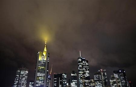 The skyline with the German Commerzbank headquarters (2nd L) is pictured under a cloudy sky in downtown Frankfurt November 7, 2012. REUTERS/Lisi Niesner (GERMANY - Tags: BUSINESS)