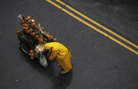 A vendor sells pineapples on the street to customers in the Mooca neighbourhood of Sao Paulo January 26, 2013. Brazil's official inflation rose to above the centre of its target estimate due to food pressures, local media reported. Reuters/Nacho Doce