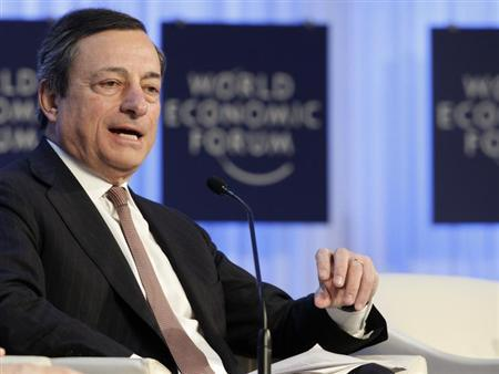 European Central Bank (ECB) President Mario Draghi attends the annual meeting of the World Economic Forum (WEF) in Davos January 25, 2013. REUTERS/Denis Balibouse (SWITZERLAND - Tags: POLITICS BUSINESS)