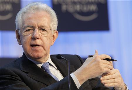 Outgoing Italian Prime Minister Mario Monti addresses the annual meeting of the World Economic Forum (WEF) in Davos January 23, 2013. REUTERS/Denis Balibouse