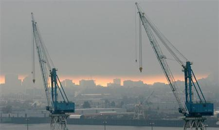 Shipping cranes are seen at the port of Portland, Oregon, November 17, 2005.