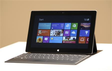 The new Surface tablet computer by Microsoft is displayed at its unveiling in Los Angeles, California, June 18, 2012. REUTERS/David McNew
