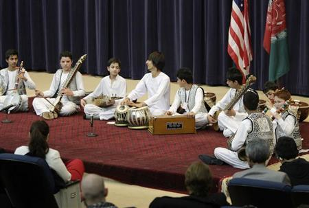 Members of the Young Afghan Traditional Ensemble perform at the State Department in Washington, February 4, 2013. REUTERS/Jonathan Ernst
