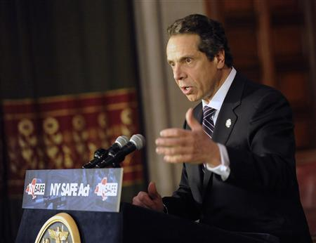 New York Governor Andrew Cuomo talks about the New York Secure Ammunition and Firearms Enforcement Act in Albany, New York January 15, 2013. REUTERS/Hans Pennink