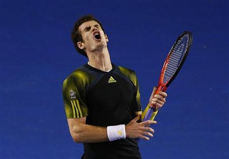 Andy Murray of Britain reacts during his men's singles final match against Novak Djokovic of Serbia at the Australian Open tennis tournament in Melbourne, January 27, 2013. REUTERS/David Gray