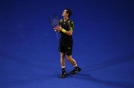 Andy Murray of Britain reacts during his men's singles final match against Novak Djokovic of Serbia at the Australian Open tennis tournament in Melbourne January 27, 2013. REUTERS/David Gray