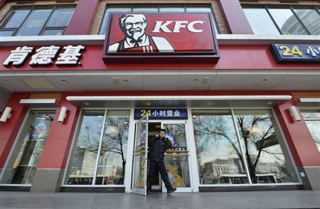 A man walks out from a KFC restaurant in Taiyuan, Shanxi province, January 17, 2013. REUTERS/Stringer