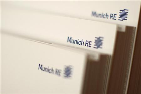 File photo of books of world's biggest reinsurer, Munich RE (Muenchener Rueck) pictured in a Munich Re office building in Munich November 5, 2012.