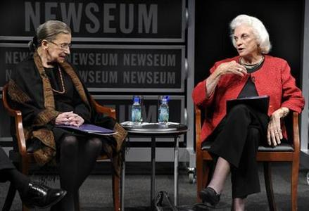 The first female supreme court justice, Sandra Day O'Connor (R), speaks as fellow Justice Ruth Bader Ginsburg listens during a forum at the Newseum, in Washington, DC, April 11, 2012, to mark the 30th anniversary of O'Connor's first term on the Supreme Court. REUTERS/Mike Theiler