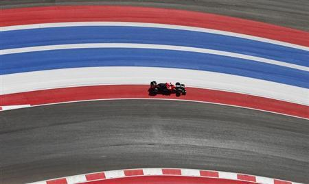 Marussia Formula One driver Timo Glock of Germany drives during the second practice session of the U.S. F1 Grand Prix at the Circuit of the Americas in Austin, Texas November 16, 2012. REUTERS/Adrees Latif/Files