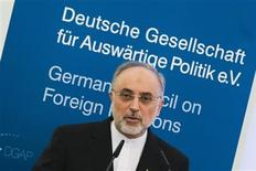 Iran's Foreign Minister Ali Akbar Salehi delivers a speech at the German Council on Foreign Relations in Berlin February 4, 2013. REUTERS/Thomas Peter