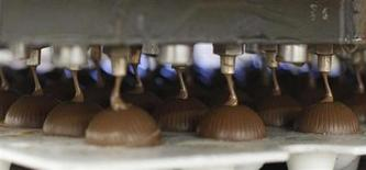 Chocolate is filled into round moulds in the Brandt chocolate manufacture in Landshut September 6, 2011