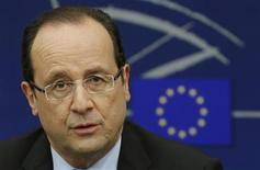French President Francois Hollande attends a news conference at the European Parliament in Strasbourg, February 5, 2013. REUTERS/