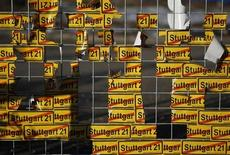 "Protest stickers are attached to the fence at the construction site of the controversial transport development project ""Stuttgart 21"" in Stuttgart February 5, 2012."