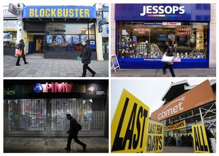 A combination photograph shows a branch of (clockwise from top left) DVD retailer Blockbuster UK in London January 16, 2013, along with file images of Jessops, Comet and HMV, all of which have gone into administration. REUTERS/Paul Hackett