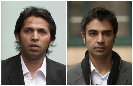 A combination photograph shows former Pakistan cricketer Mohammad Asif and former Pakistan cricket captain Salman Butt (R) arriving at Southwark Crown Court in London on November 1, 2011 and October 31, 2011 respectively. REUTERS/Staff/Files