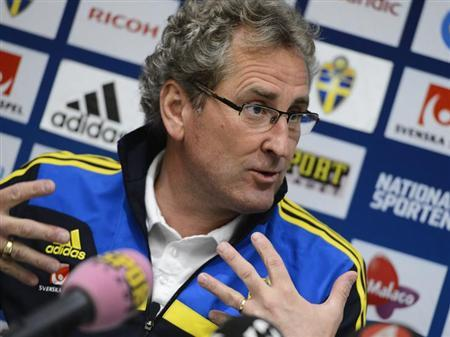 Sweden's national soccer team coach Erik Hamren holds a news conference in Stockholm, Sweden February 4, 2013, two days ahead of an international friendly match against Argentina at Friends Arena in Stockholm. REUTERS/Claudio Bresciani/Scanpix Sweden