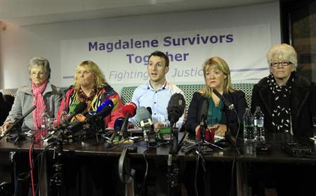 Spokesman Steven O'Riordan (C) speaks as he sits with, Marina Gambold (L-R), Mary Smyth, Maureen Sullivan and Diane Croghan, at a 'Magdalene Survivors Together' news conference in Dublin February 5, 2013. REUTERS/Cathal McNaughton