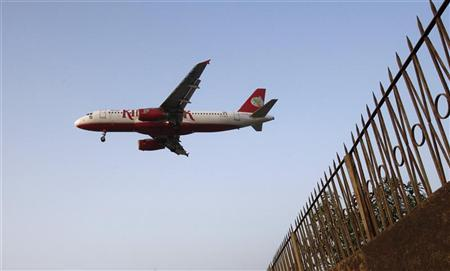A Kingfisher Airlines aircraft comes in to land at Mumbai's domestic airport February 20, 2012. REUTERS/Vivek Prakash/Files
