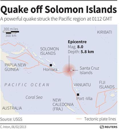 Map locating the epicentre of an 8.0 magnitude quake that struck off Solomon Islands. REUTERS GRAPHICS