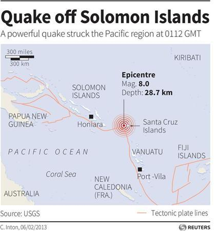 Updates quake depth. Map locating the epicentre of an 8.0 magnitude quake that struck off Solomon Islands. Reuters Graphics
