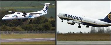 La compagnie aérienne britannique Flybe a conclu un accord avec Ryanair concernant la création d'une compagnie aérienne irlandaise appelée Flybe Ireland, dans l'éventualité du rachat par Ryanair de son rival Aer Lingus. /Photos d'archives/REUTERS/David Moir et Yves Herman