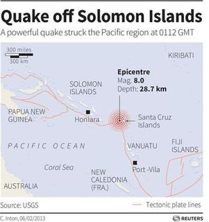 Map locating the epicentre of an 8.0 magnitude quake that struck off Solomon Islands. REUTERS/GRAPHICS