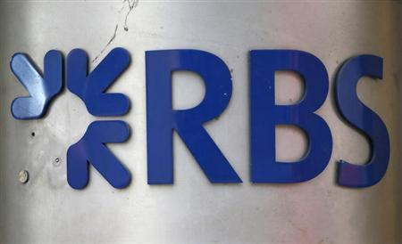 A sign in need of repair is seen outside a branch of the Royal Bank of Scotland (RBS) in the City of London February 4, 2013. REUTERS/Andrew Winning