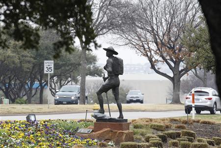 The statue of a scout stands in the entrance to Boy Scouts of America Museum and Family Center in Irving, Texas, February 5, 2013. REUTERS/Tim Sharp